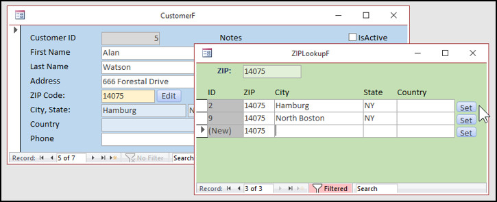 ZIP Code Lookup Template Microsoft Access