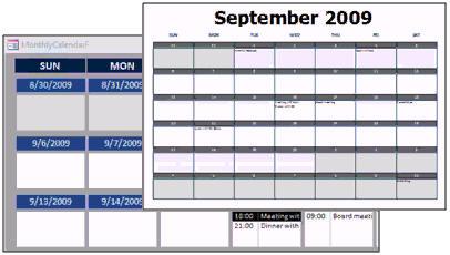 microsoft access calendar seminar